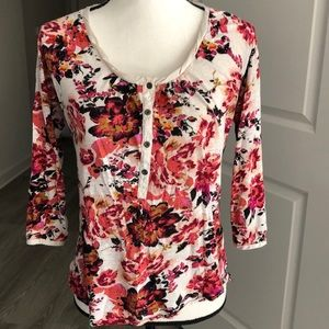 Small Lucky Brand Floral Button Blouse
